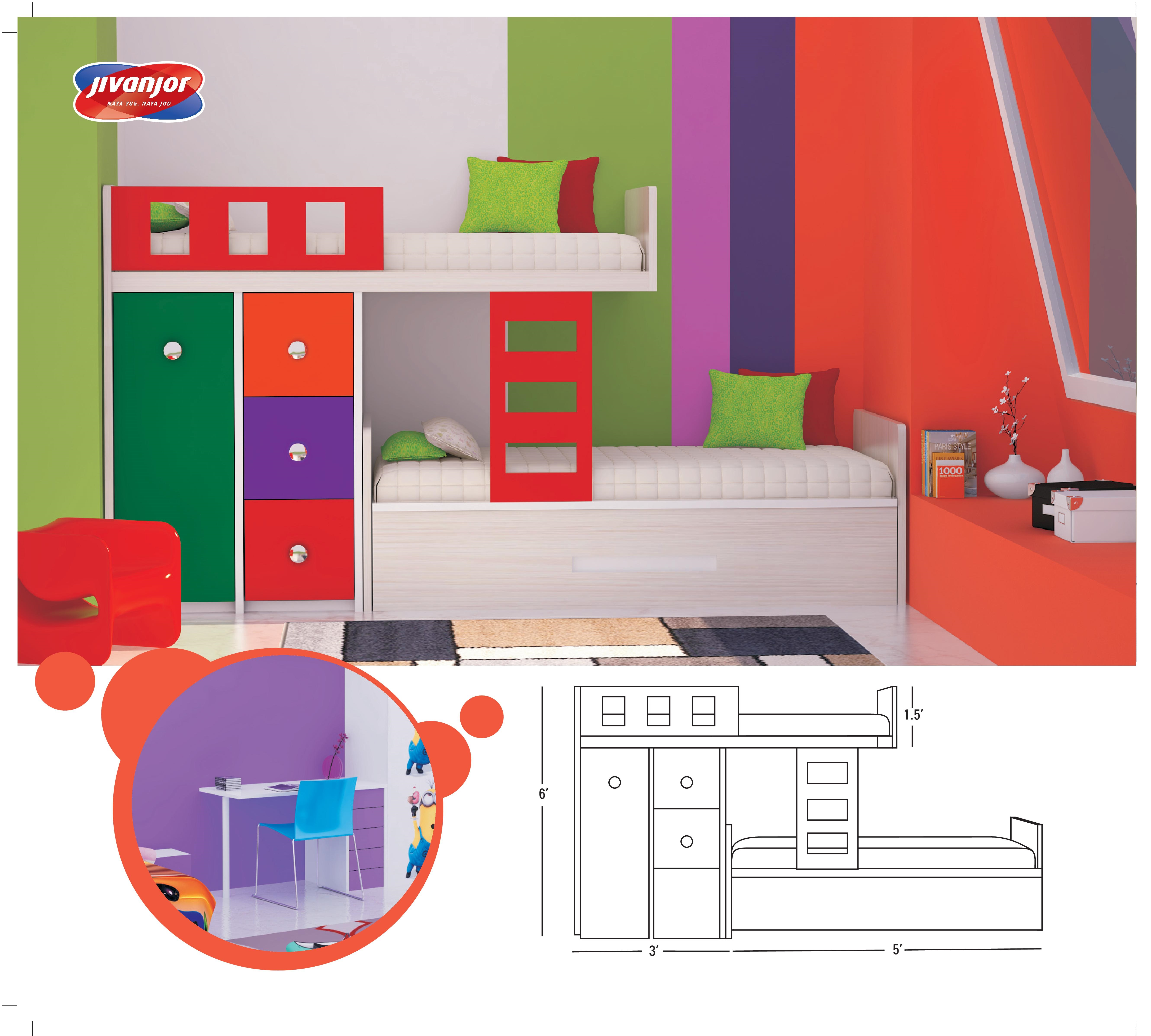 Kids Modern Bunker Bed with Stairs