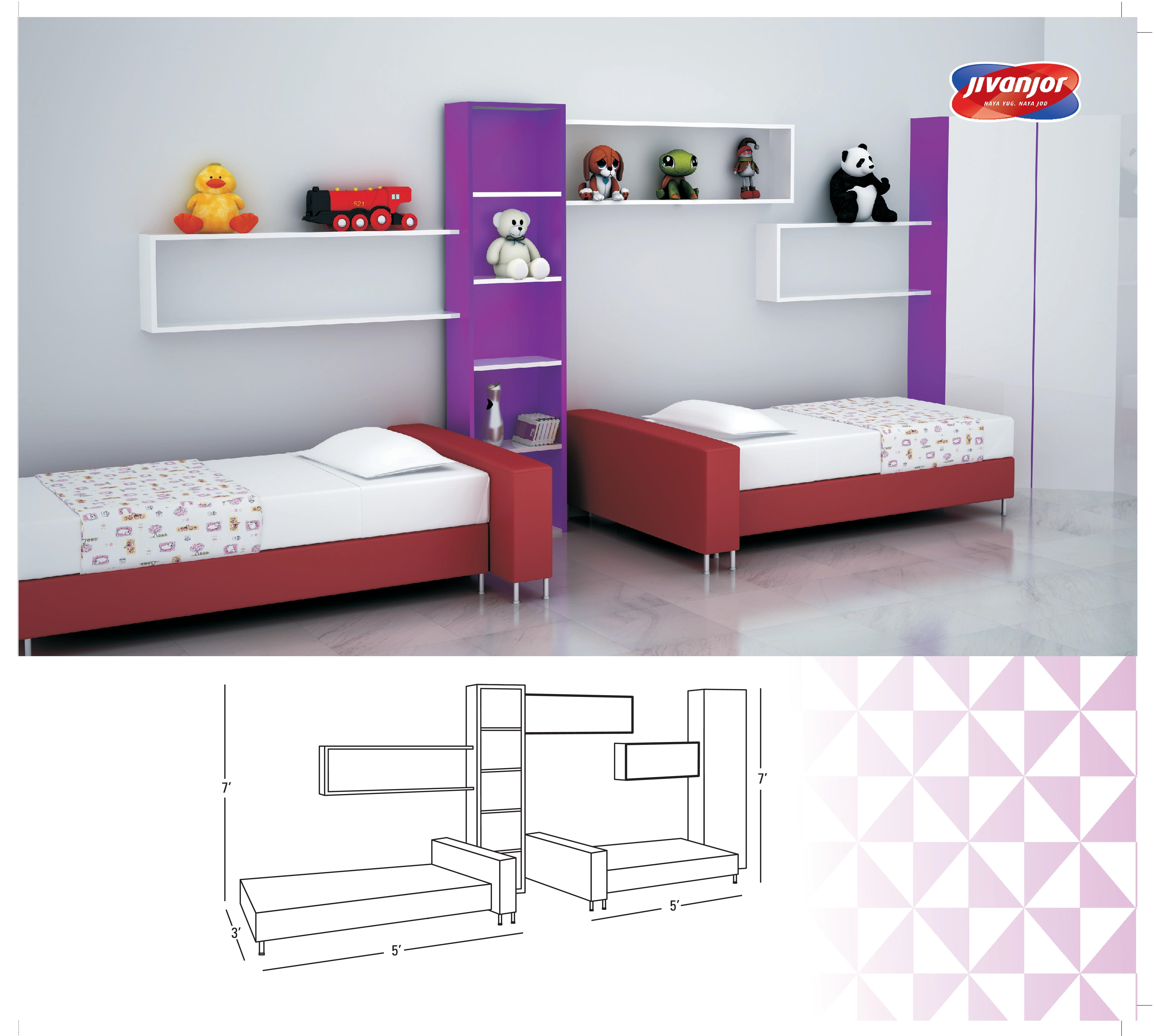 Kids Double Bed Room with Separate Beds