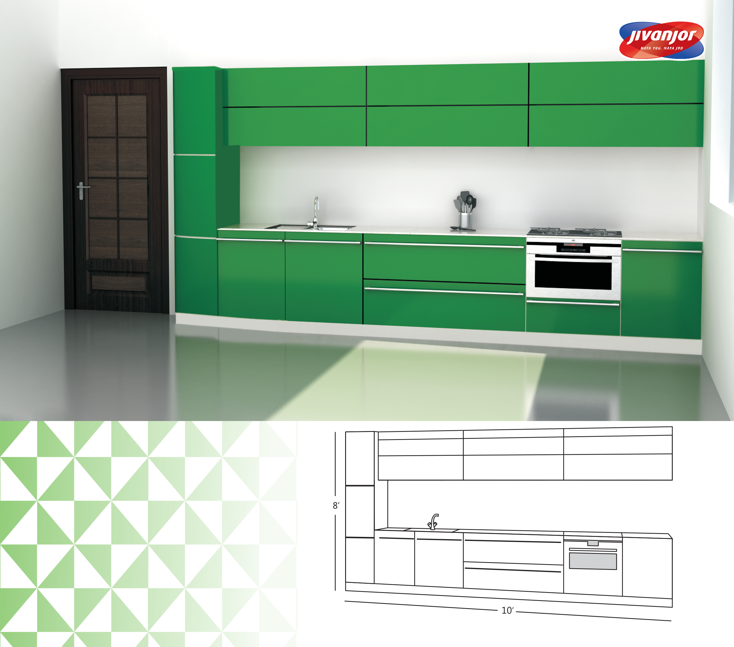 Single Line Kitchen Design with an Inbuilt Oven
