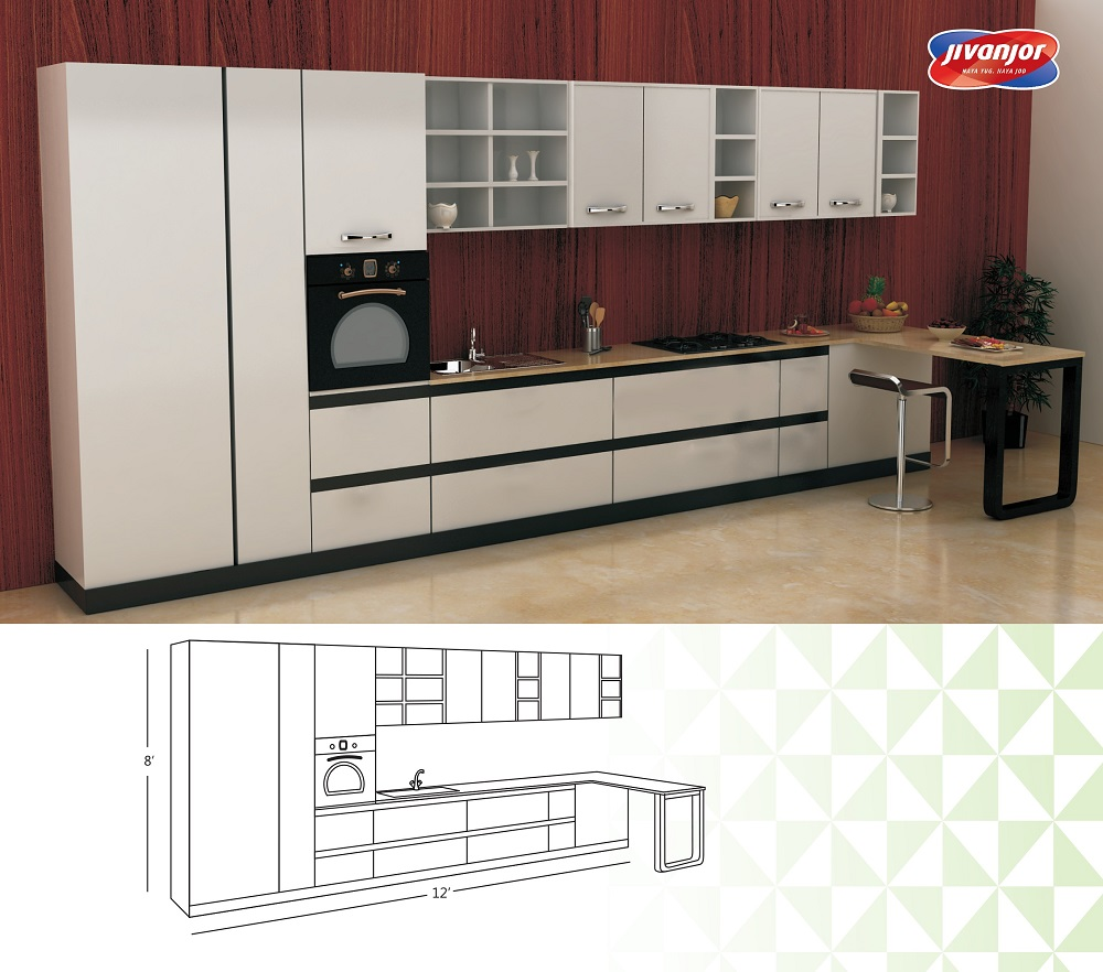 Single Line Large Kitchen Design